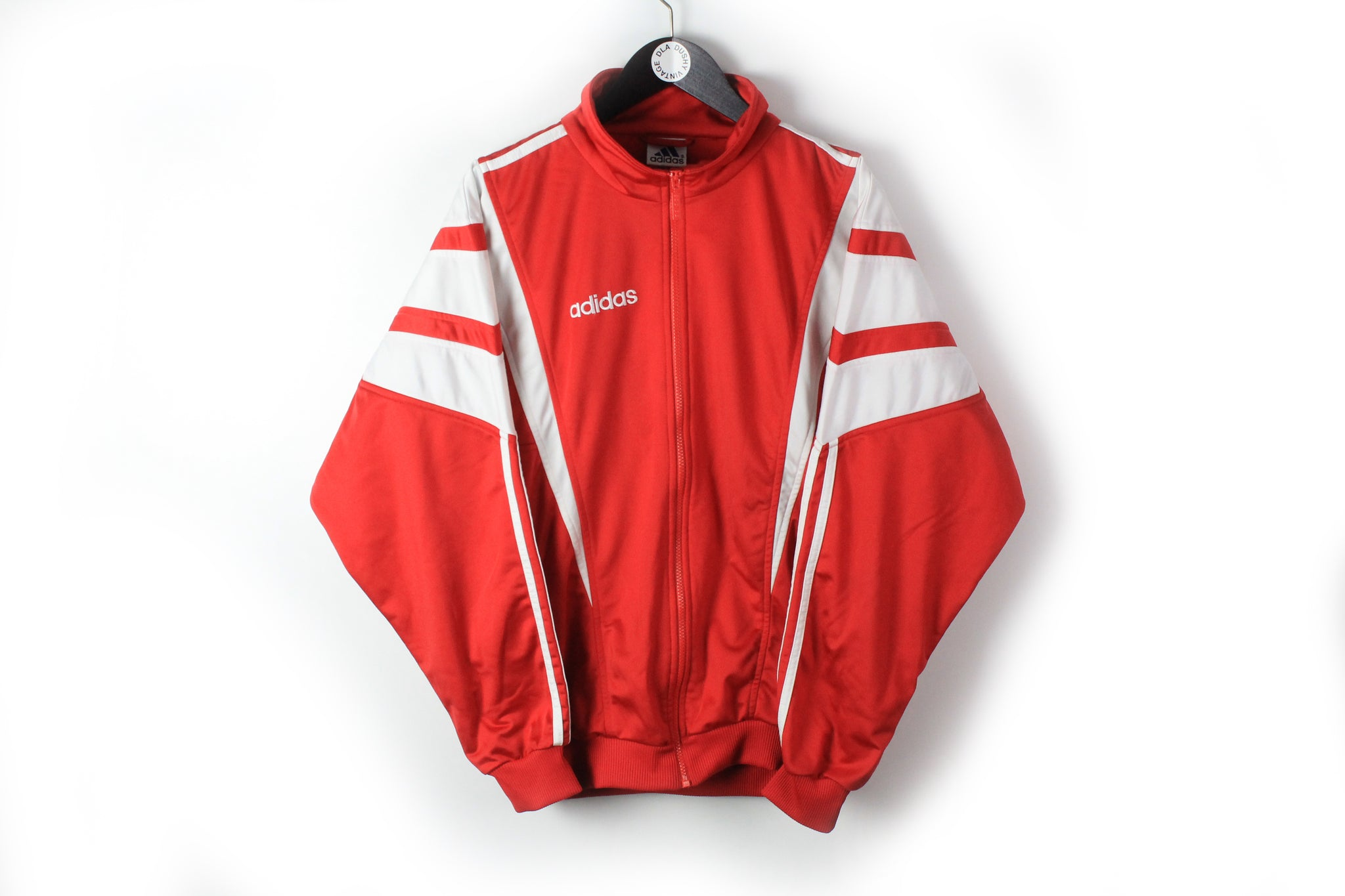 Vintage Adidas Track Jacket Large red big logo windbreaker 90s sport style jacket
