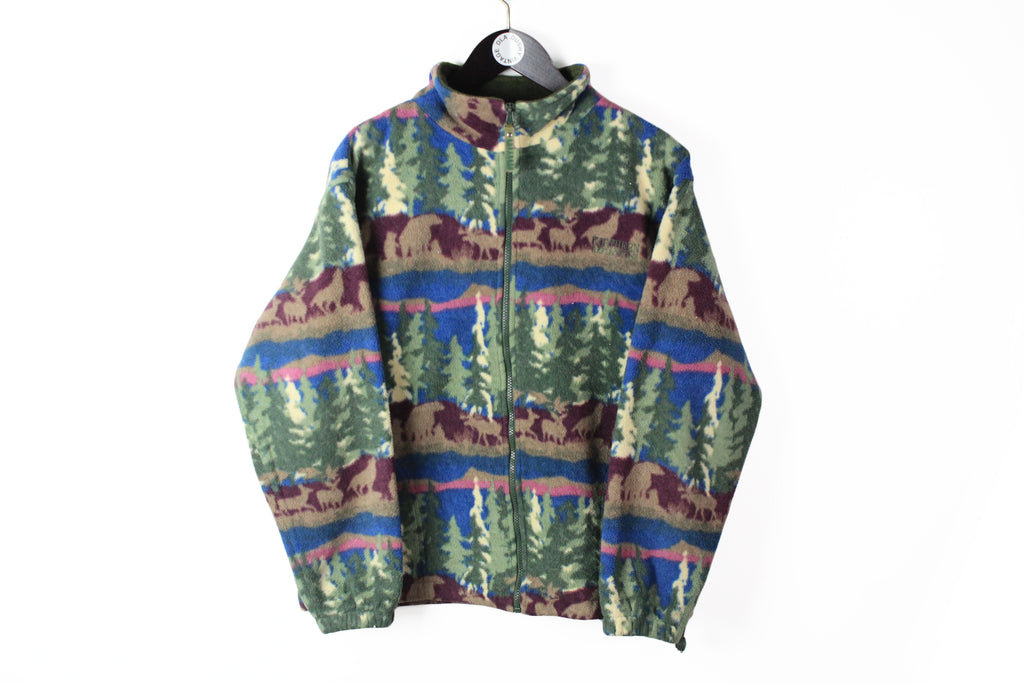 Vintage Fleece Full Zip Small multicolor 90s blue green retro style animal forest pattern