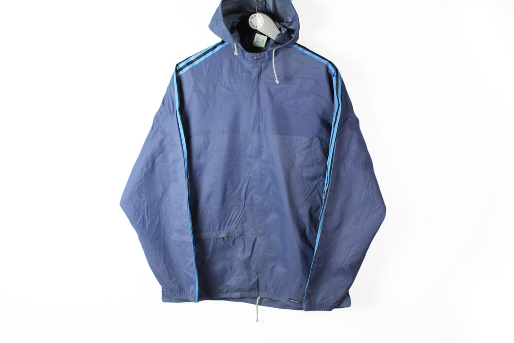 Vintage Adidas Jacket Large navy blue 80s sport style hooded windbreaker