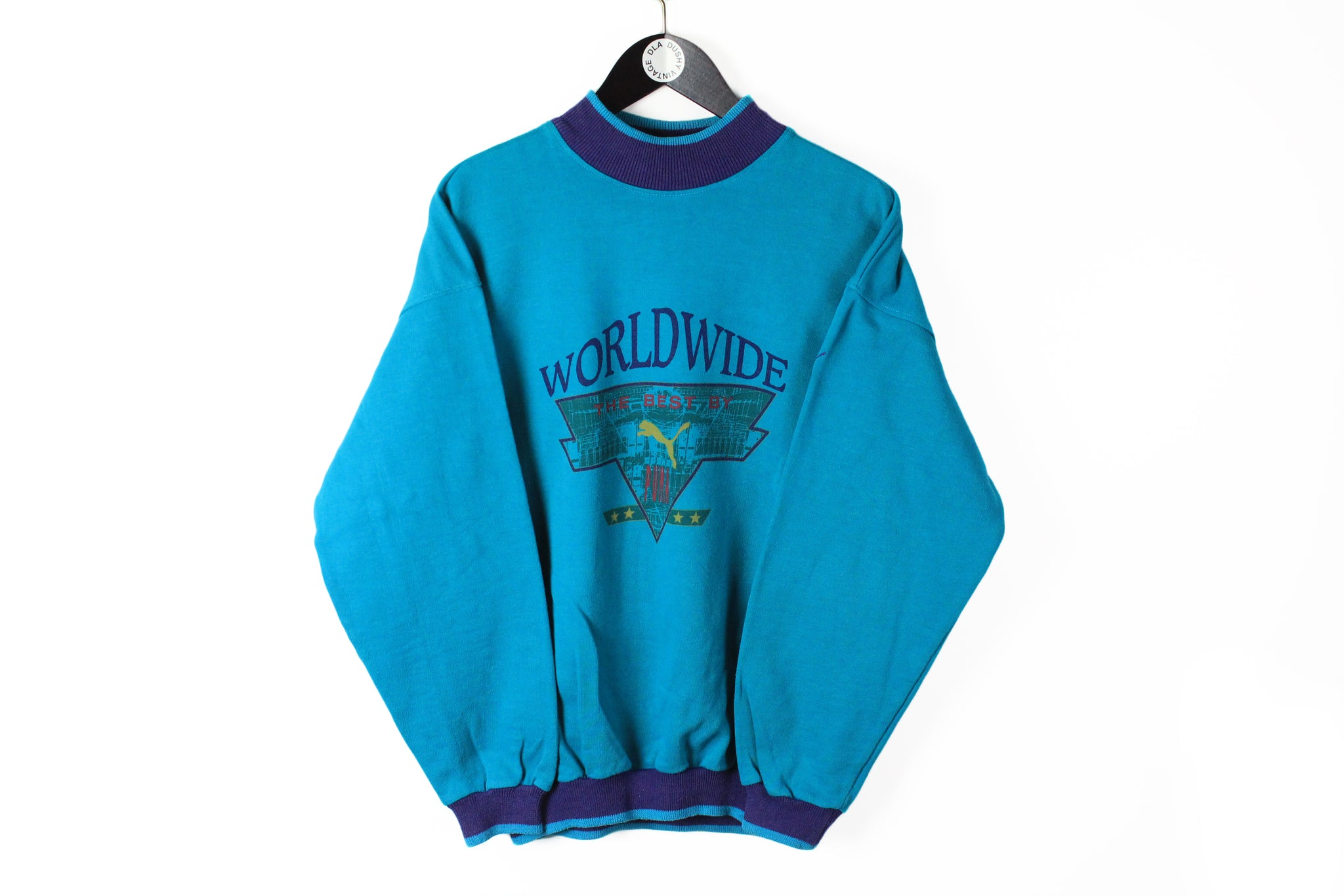 Vintage Puma Sweatshirt Medium blue Worldwide cotton 90s jumper