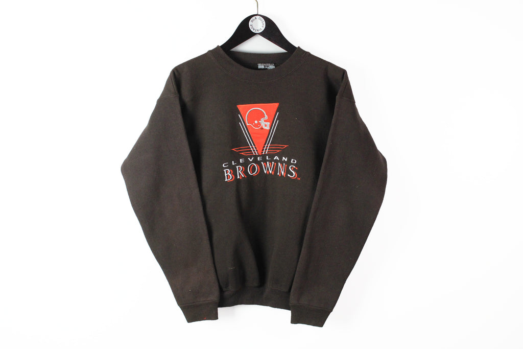 Vintage Browns Cleveland Sweatshirt Small brown 90s embroidery logo crewneck NFL jumper