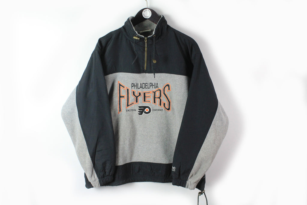 Vintage Flyers Philadelphia Lee Fleece 1/4 Zip Large big logo 90s streetwear sport style sweater NHL Hockey sweater anorak