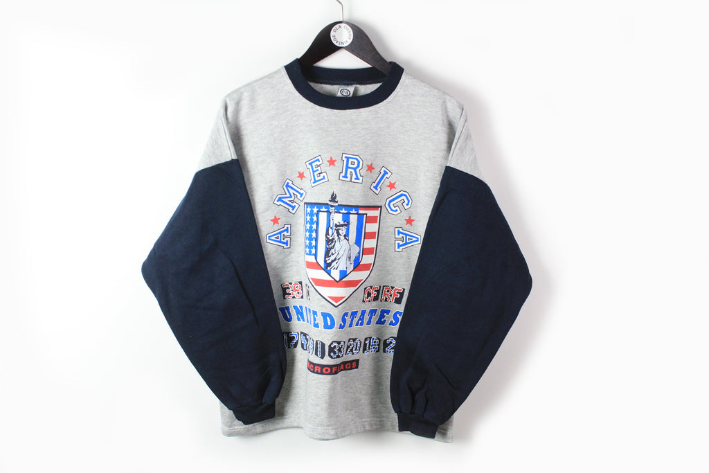 Vintage USA Sweatshirt Small gray blue 90s sport style American United States jumper