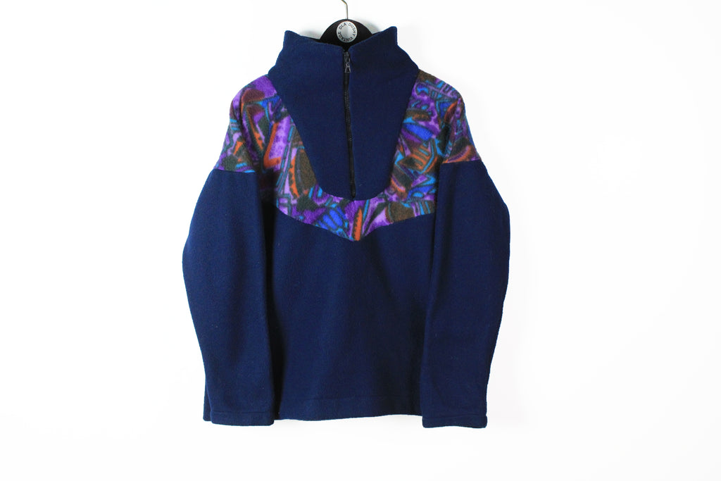 Vintage Fleece Half Zip Medium navy blue 90s sport style streetwear retro ski sweater