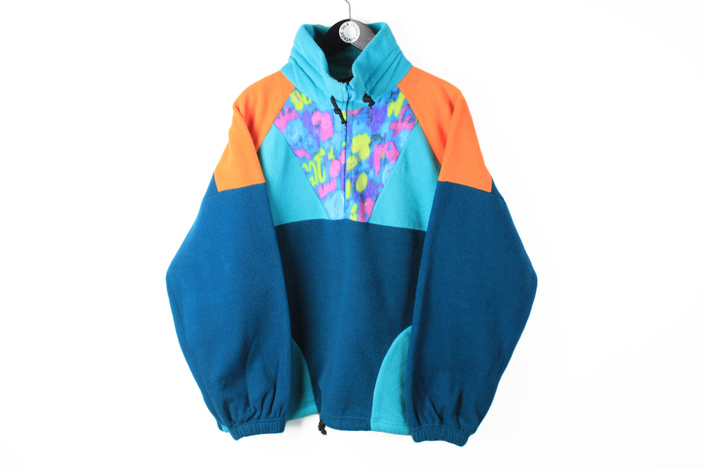 Vintage Fleece Half Zip Medium ski sweater 90s jumper winter multicolor