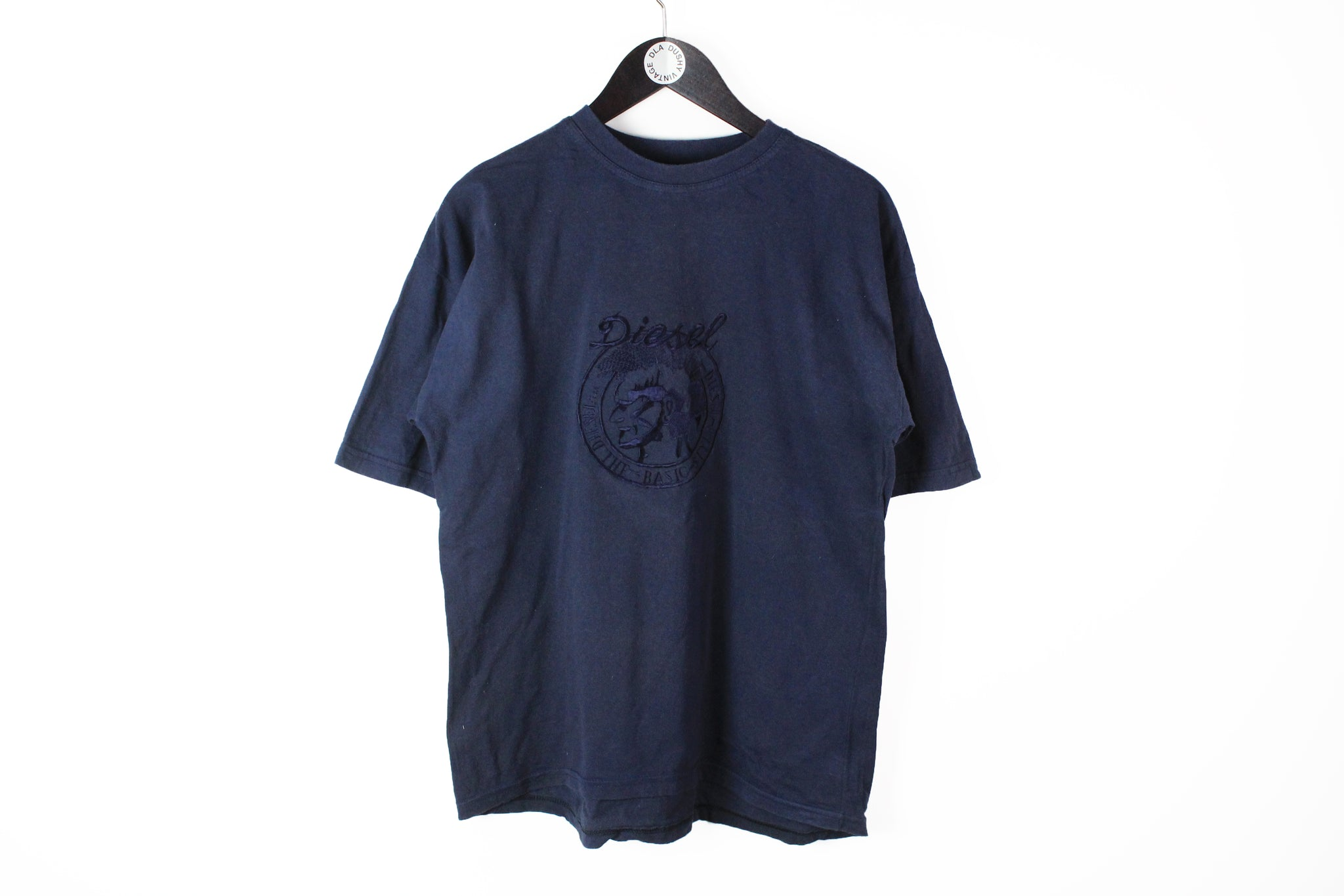 Vintage Diesel T-Shirt Medium embroidery big logo 80's navy blue cotton tee