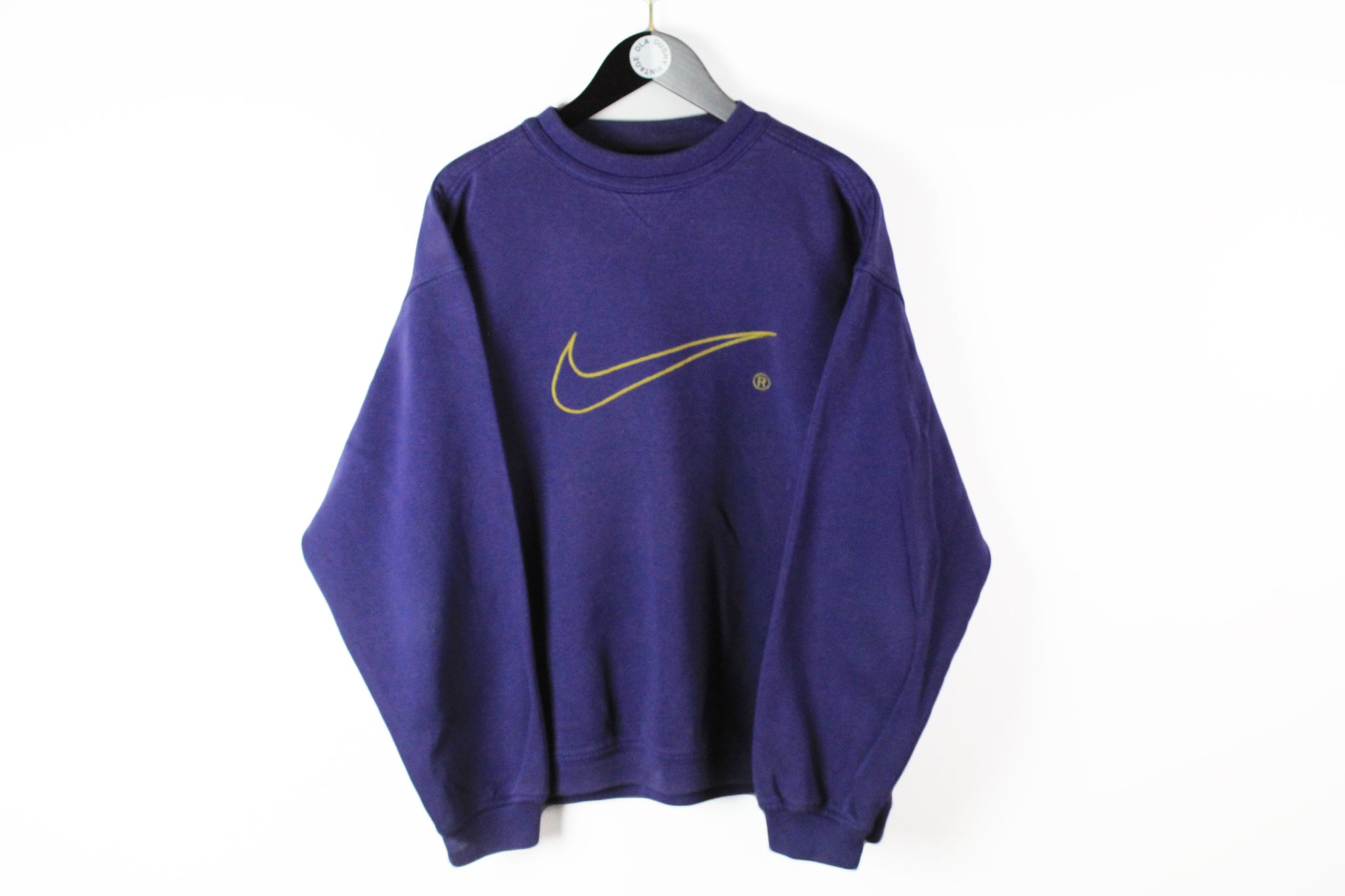 Vintage Nike Sweatshirt Large purple swoosh gold big logo 90s sport rare retro style USA jumper crew neck