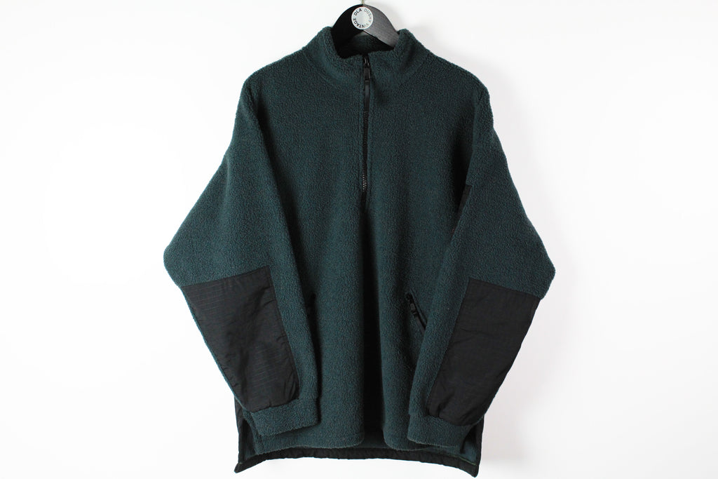 Vintage Helly Hansen Fleece Half Zip Medium / Large 90s green retro style winter ski sweater