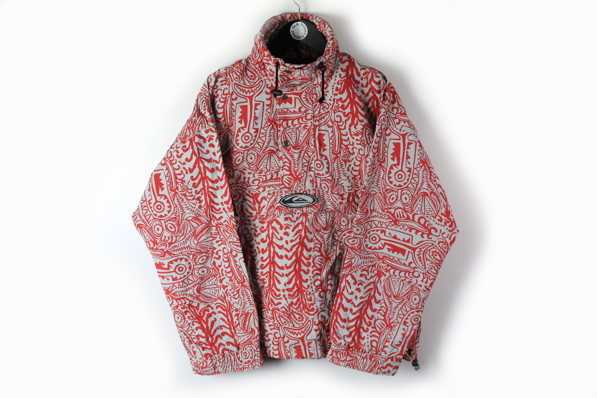 Vintage Quicksilver Anorak Jacket Medium red gray abstract pattern 90s snowboard winter gear jacket