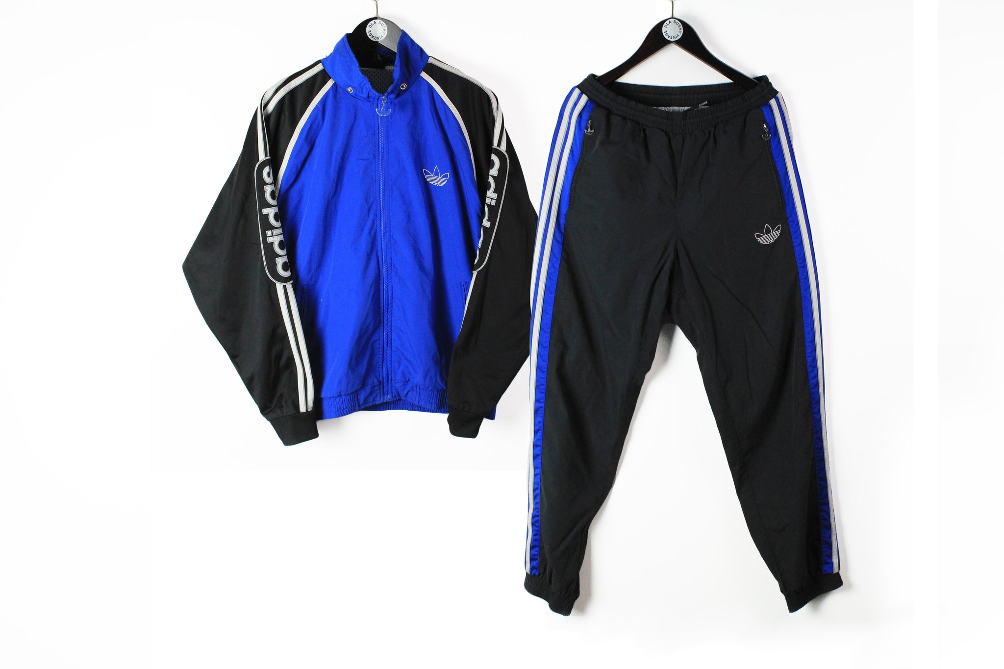 Vintage Adidas Tracksuit Medium / Large blue black big logo 90s sport suit