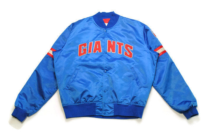 vintage NEW YORK GIANTS football authentic bomber jacket Size L mens red big logo blue nyc ny nfl 90s 80s Pro Line Athletic Sport Team retro