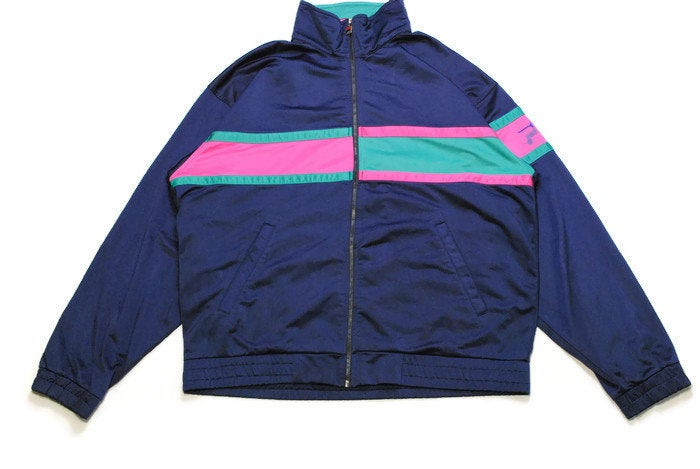 vintage FILA men's track jacket SIZE L authentic blue athletic rare retro rave hipster 90s 80s bomber streetwear clothing unisex oversized