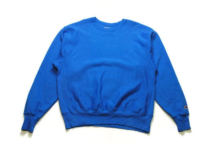 authentic CHAMPION little sleeve logo sweatshirt Size L men's blue fancy sweat sweater oversized large crew streetwear activewear basic 90s