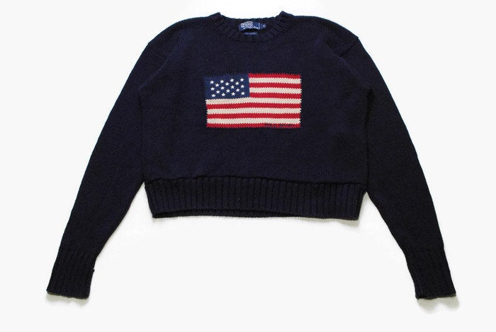 vintage POLO Ralph Lauren big logo flag USA navy blue sweater Size L/XL womens long sleeve rare retro overized knitted authentic hipster 90s