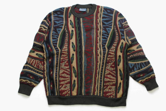 vintage GECCU 3D multicolor authentic sweater knit wear knitted Size XXL rare retro mens clothing hipster made in Australia cardigan 90s 80s