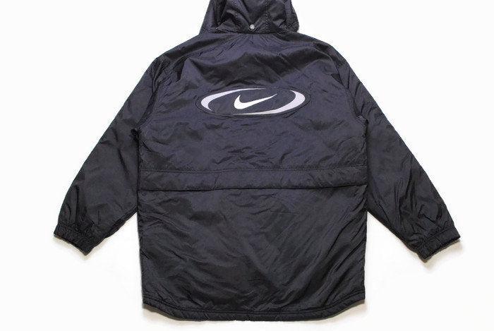 vintage NIKE big logo authentic jacket Size S/M black hooded rare retro rave hipster sport athletic 90s 80s casual hip hop winter clothing