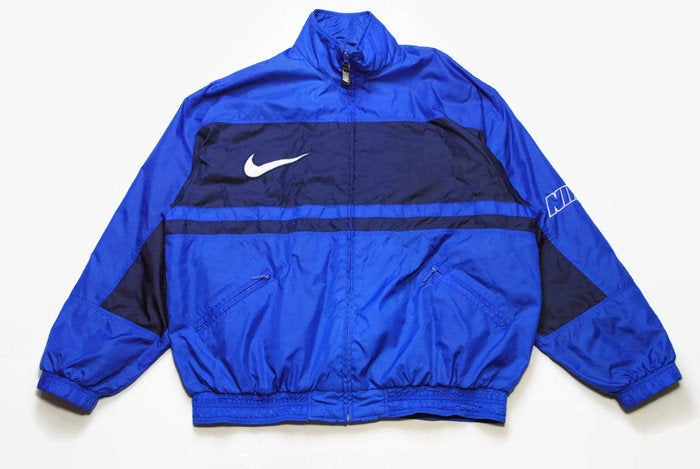 vintage NIKE authentic track jacket Size L navy blue rare retro rave hipster sport athletic 90s 80s casual hip hop running streetwear logo