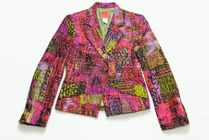 vintage BAZAR de CHRISTIAN LACROIX colorway authentic Blazer Jacket retro style Size 40 made in France 90s 80s luxury outfit button up wear