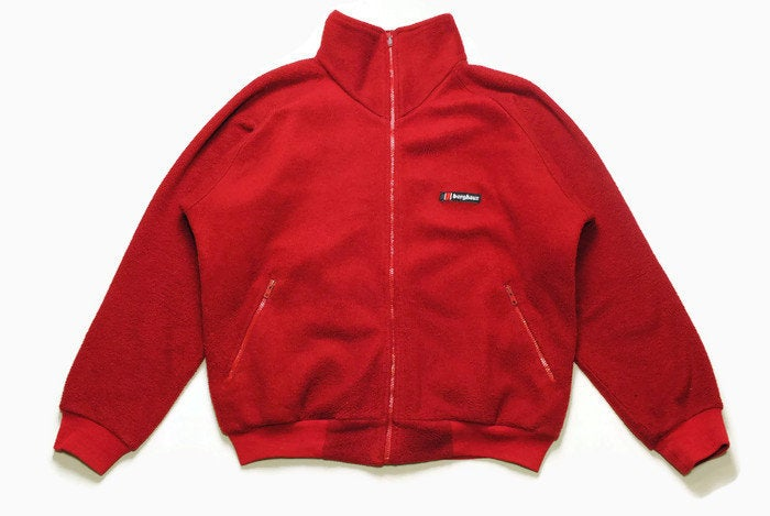 vintage BERGHAUS FLEECE PolarPlus Jacket Retro red mens zip up Size XL authentic sweater bright winter sweatshirt acid 90s 80s rare hipster