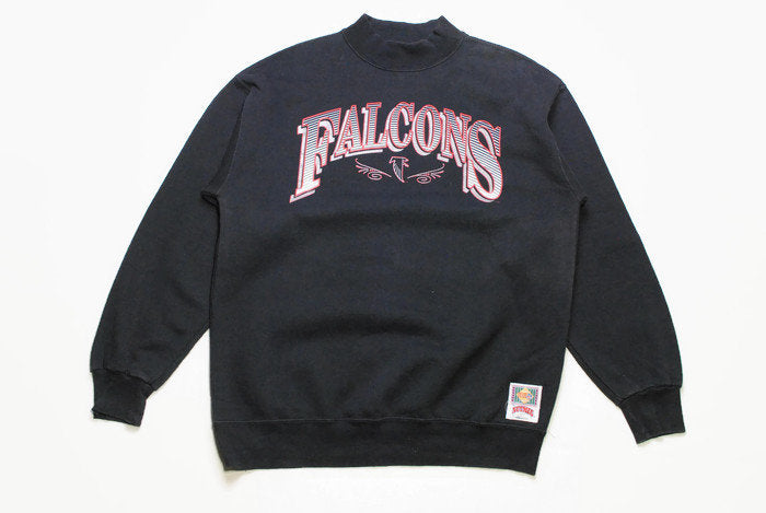 vintage FALCONS ATLANTA nfl Nutmeg Mills made in USA official product men's black sweatshirt big logo Size L authentic rare football sweat