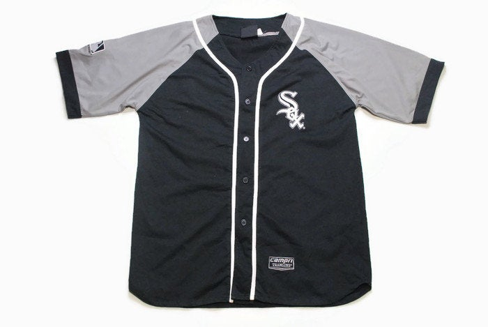 vintage WHITE SOX CHICAGO mens baseball shirt Size Xl Campri Team line authentic button big logo top black gray streetwear hip hop whitesox