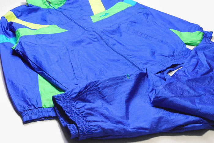 vintage FILA track suit acid color Size XXL oversized retro hipster sport clothing rave 90s 80s authentic rare mens large blue stylish style