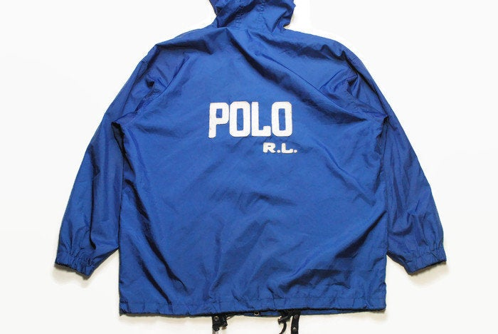 vintage POLO SPORT Ralph Lauren men's Size L windbreaker Jacket with a hood authentic blue big logo rare retro rave hipster large 90s 80s