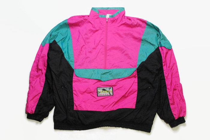 vintage PUMA men's anorak jacket SIZE M authentic black pink rare retro rave hipster 90s 80s unisex track tracksuit streetwear clothing wear