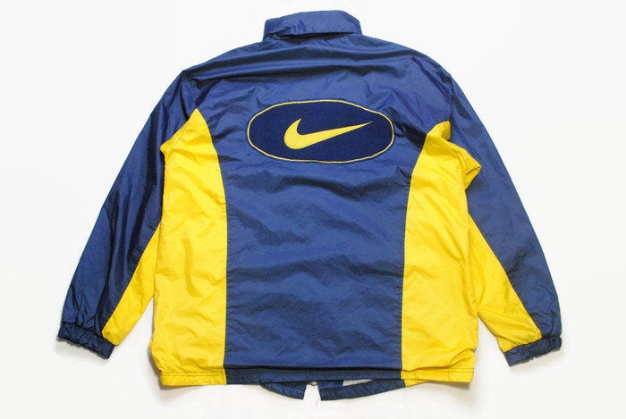 vintage NIKE big logo Swoosh authentic jacket Size XL yellow rare retro rave hipster sport athletic 90s 80s hip hop running streetwear blue