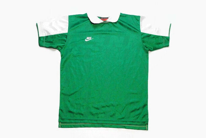 vintage NIKE Premier logo authentic T-Shirt green polyester athletic tee retro 90s 80s rare Size M sport outfit top rave hip hop style USA