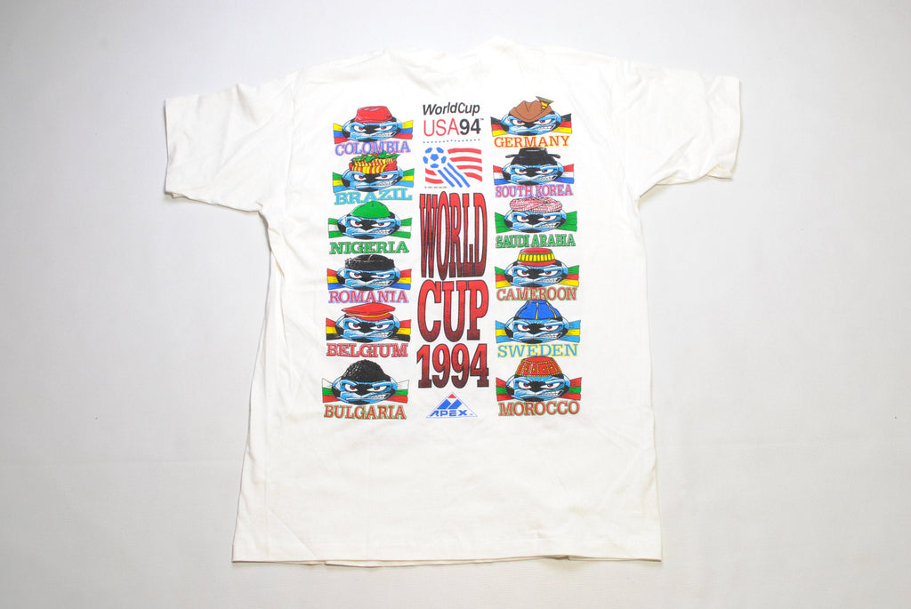 1991 vintage WORLD CUP 94 USA Apex One sport authentic t shirt Size xl collection rare white top tee retro 90s football soccer big logo flag