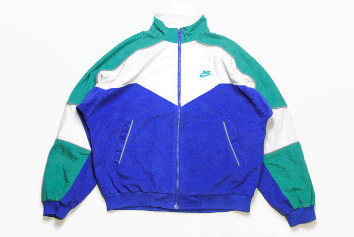 vintage NIKE authentic track jacket Size M blue green rare retro rave hipster sport athletic 90s 80s casual hip hop running streetwear logo
