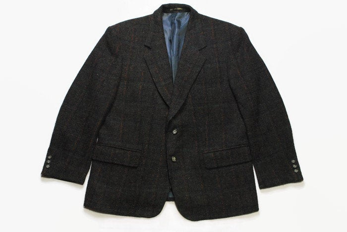 vintage HARRIS TWEED x Saint John Top Line authentic Blazer Jacket Pure new Wool retro style Size M 90s 80s luxury outfit button up men's