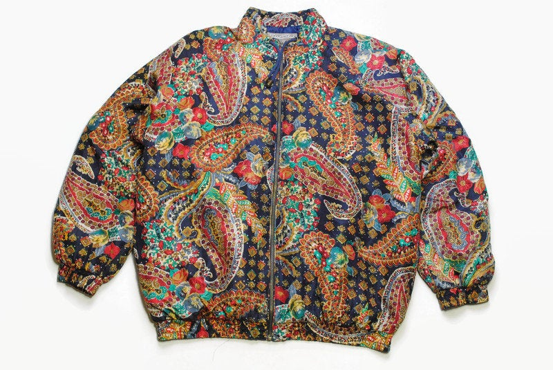 vintage ROBERT STOCK PATTERN Bomber authentic Jacket print luxury style long sleeve retro Size L silk 90s 80s luxury outfit zipped women's