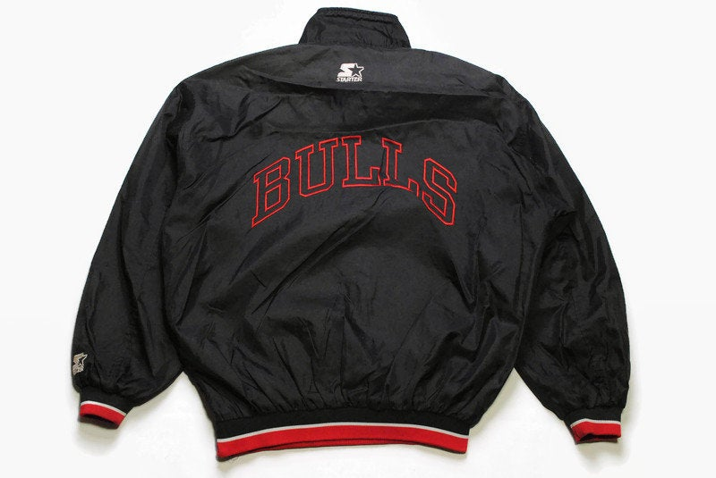vintage CHICAGO BULLS black anorak jacket authentic official product Size L men's nba big logo Bull USA rare retro wear zipped 80s 90s vntg