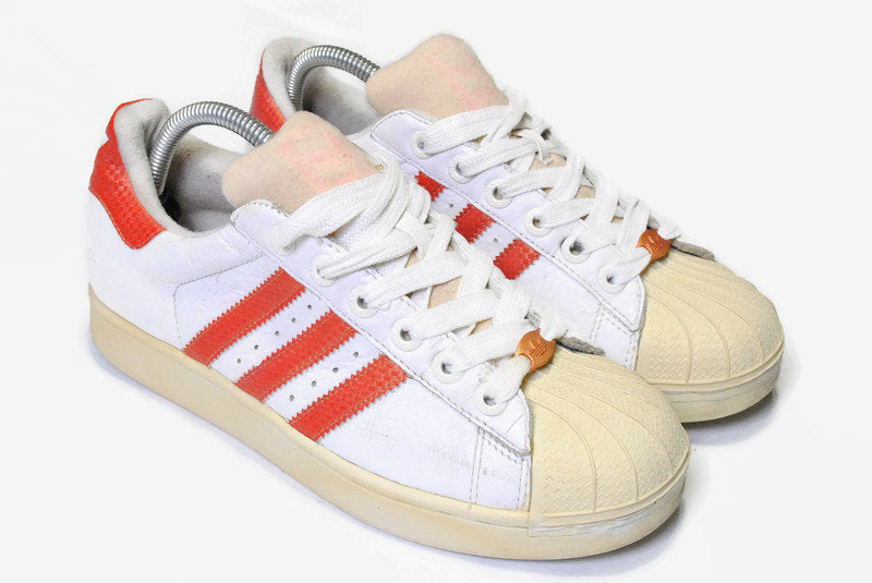 vintage ADIDAS SUPERSTAR authentic white red sneakers Size US7 FR40 men's rare retro basketball athletic shoes 90s 80s classic hipster wear