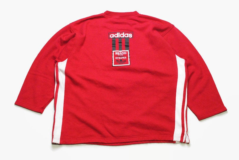 vintage ADIDAS ORIGINALS men's long sleeve t shirt sweatshirt authentic retro sweat big logo Size L red hipster rave sport wear 90s 80s rare