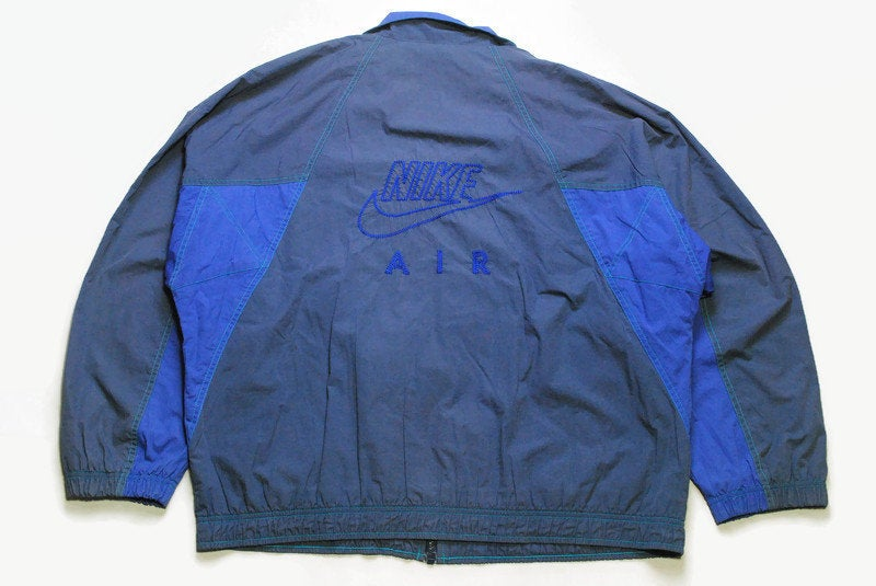 vintage NIKE AIR authentic track jacket Size XL blue rare retro rave hipster sport athletic 90s 80s casual hip hop running streetwear logo