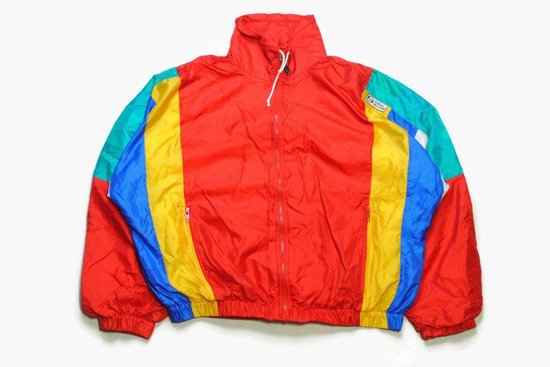 vintage SERGIO TACCHINI track jacket SIZE S unisex authentic yellow blue rare retro rave hipster 90s bomber suit streetwear clothing wear