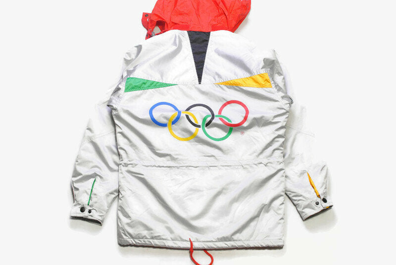 vintage K-WAY INTERNATIONAL Albertville 92 official Olympic Games Jacket 1992 France rain Coat big logo rings mens Size XS silver authentic