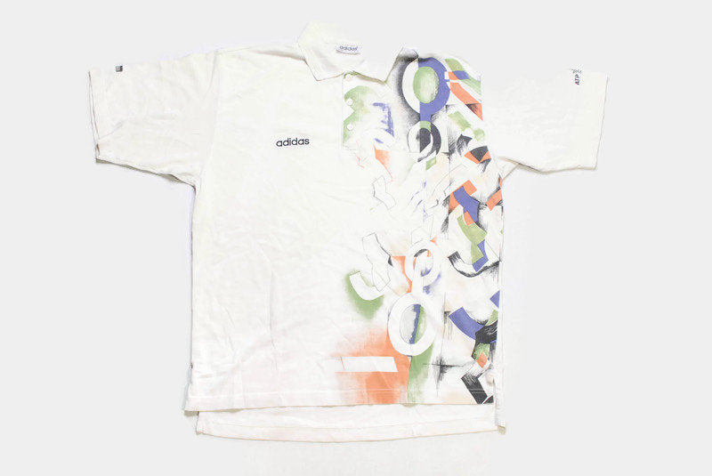 vintage ADIDAS ATP TOUR Tennis polo T-Shirt white abstract pattern Size M men's authentic rare 90's 80's hipster retro oversize summer tee