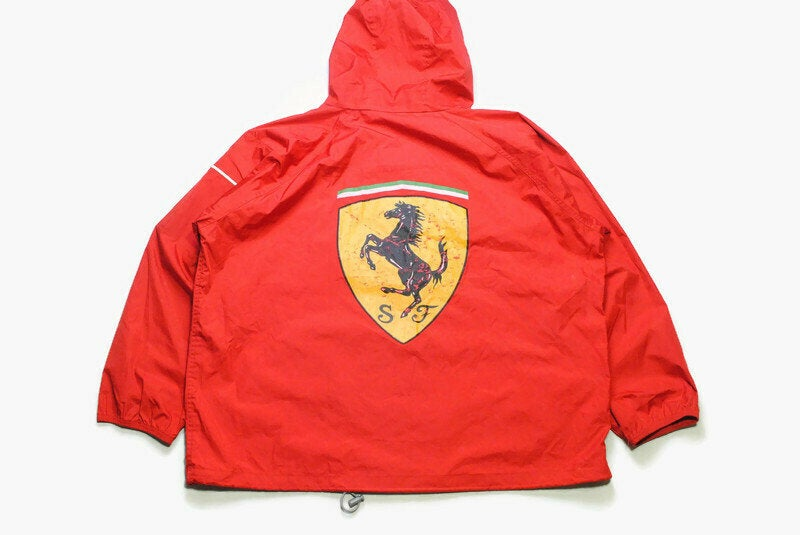 vintage FERRARI Michael Schumacher 1998 Jacket Size XXL red authentic race team zip rare retro 90s big logo F1 Formula 1 coat raincoat hood