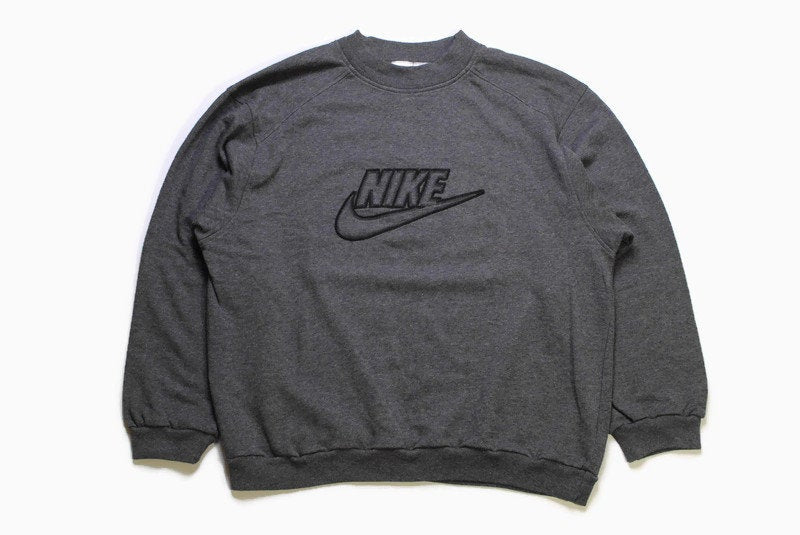 vintage NIKE big logo sweatshirt Size L men's gray authentic rare 90s 80s rave wear sweater hipster hip hop retro oversize swoosh streetwear