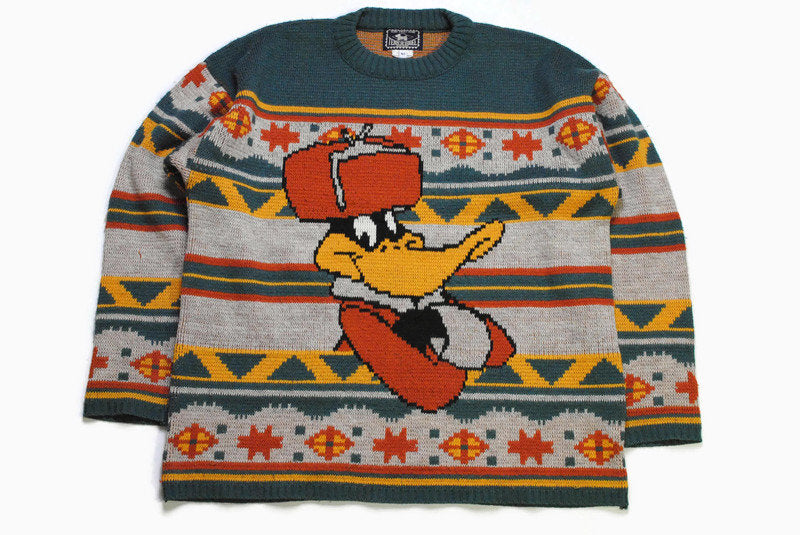 vintage TENUE DE SOIREE 1994 Warner Bros Home Sweet Home sweater Duck big logo russian hat Jumper authentic made in France rare 90s cardigan