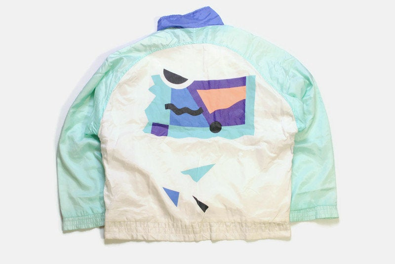 vintage PUMA men's track jacket Size M authentic white abstract pattern rare retro rave hipster 90's 80's unisex bomber tracksuit streetwear