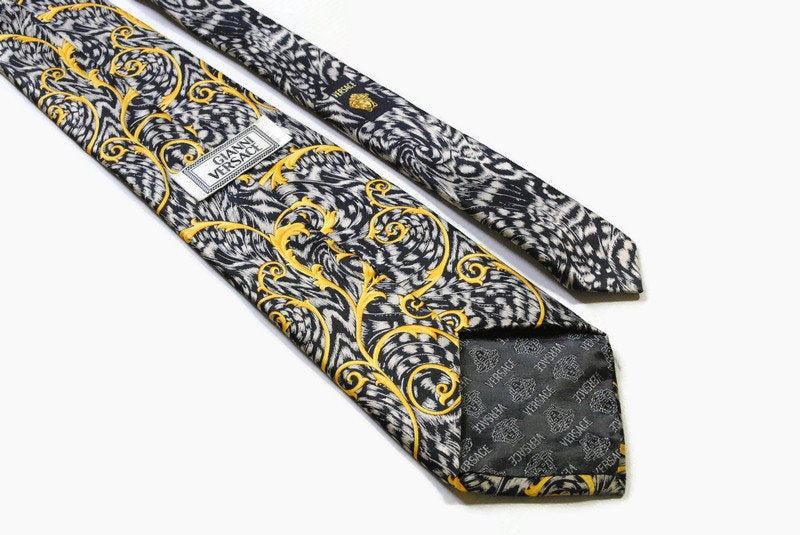 vintage GIANNI VERSACE men's 100% silk Tie made in Italy luxury pattern necktie retro beautiful print gold silver gift for men accessories