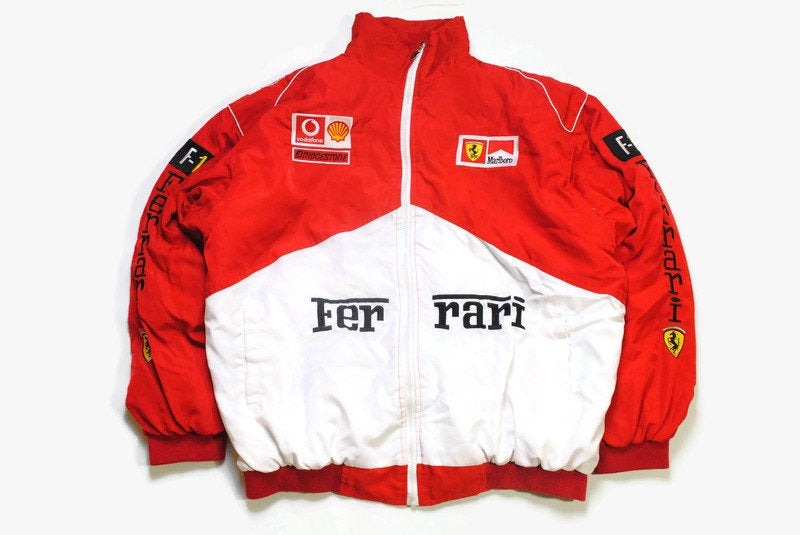vintage FERRARI Michael Schumacher mens warm Bomber Jacket Size XL red white authentic race team zip rare retro 90s big logo F1 Formula 1