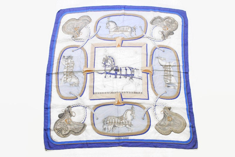 HERMES Grand Apparat Silk Scarf vintage wrap by Jacques Eudel horse print pattern authentic Shawl retro style horse blue gray rare Vintage