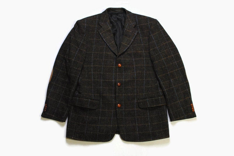 vintage HARRIS TWEED x Christian Berg Stockholm authentic Blazer Jacket Pure new Wool retro style Size 48 brown 90s luxury plaid button up