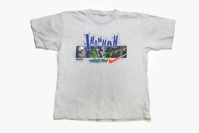 vintage 1996 NIKE Ironman in Roth big logo authentic T-Shirt cotton athletic tee retro 90s 80s Size L sport top hip hop style made in Greece